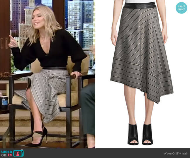 Striped Basketweave Midi Skirt by Helmut Lang worn by Kelly Ripa on Live with Kelly & Ryan