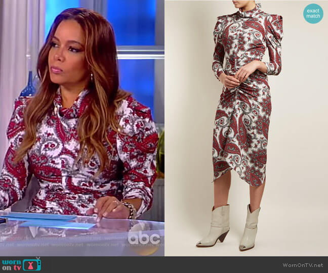 Tizy paisley-print silk high-neck dress by Isabel Marant worn by Sunny Hostin on The View