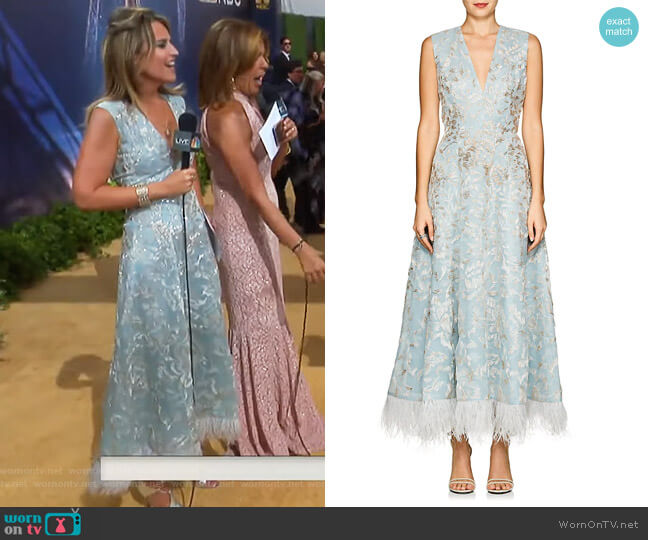 Feather-Trimmed Beaded Silk Cocktail Dress by J. Mendel worn by Savannah Guthrie on Today
