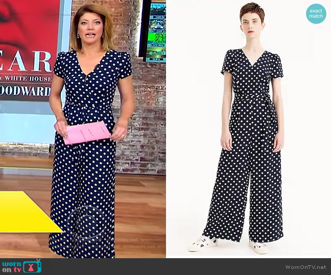 Short-Sleeve Wrap Jumpsuit by J Crew worn by Norah O'Donnell  on CBS This Morning