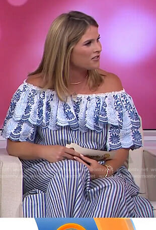Jenna's blue striped off-shoulder dress on Today