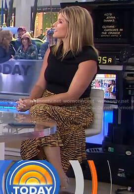 Jenna's yellow tiger print midi skirt on Today
