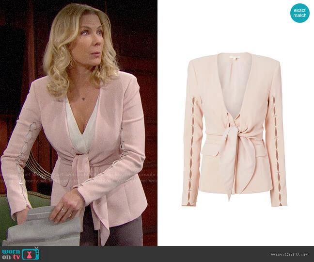 Jonathan Simkhai Staple Sleeve Crepe Blazer worn by Brooke Logan (Katherine Kelly Lang) on The Bold & the Beautiful