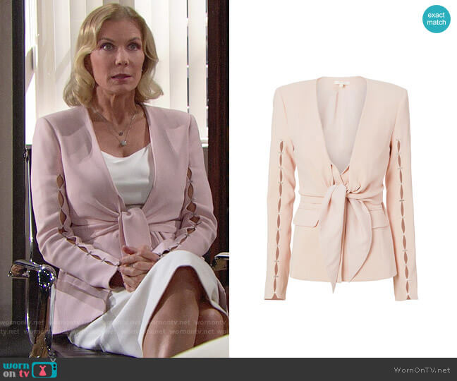 Jonathan Simkhai Staple Sleeve Crepe Blazer worn by Katherine Kelly Lang on The Bold & the Beautiful