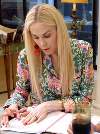 Kameron's green and pink tiger print shirt on The Real Housewives of Dallas