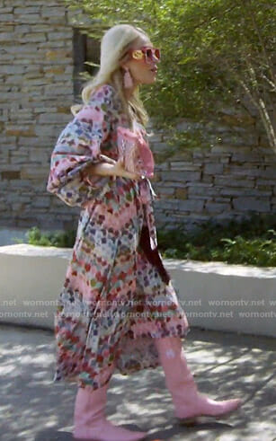 Kameron's pink printed wrap dress The Real Housewives of Dallas