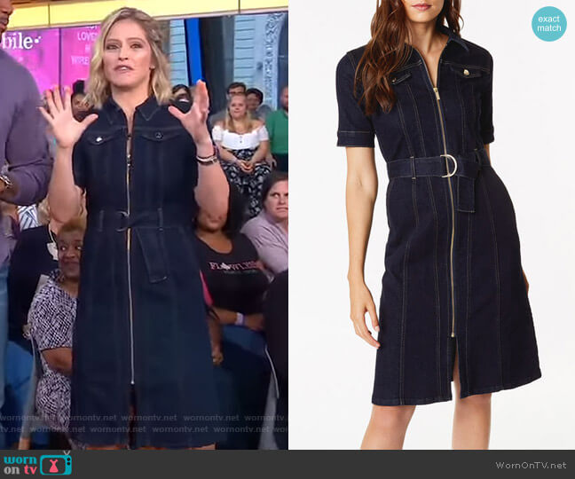 Belted Denim Dress by Karen Millen worn by Sara Haines on Good Morning America