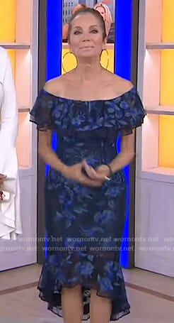 Kathie's blue floral off-shoulder dress on Today