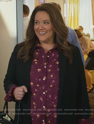 Katie's red floral blouse on American Housewife