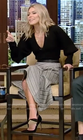 Kelly's black v-neck sweater and striped skirt on Live with Kelly and Ryan