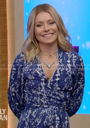 Kelly's blue floral wrap dress on Live with Kelly and Ryan