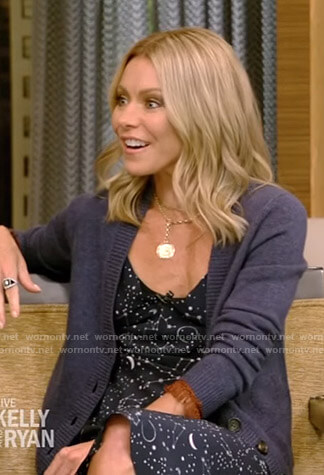 Kelly's constellation print slip dress and fringe cuff cardigan on Live with Kelly and Ryan