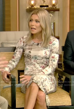 Kellys' ivory floral dress on Live with Kelly and Ryan