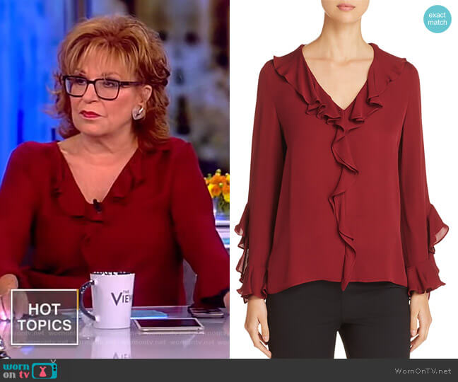 Genny Silk Ruffle-Trimmed Blouse by Kobi Halperin worn by Joy Behar on The View