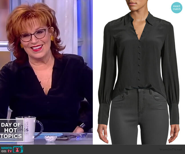 Naomi Button-Front Silk Blouse by L'Agence worn by Joy Behar on The View