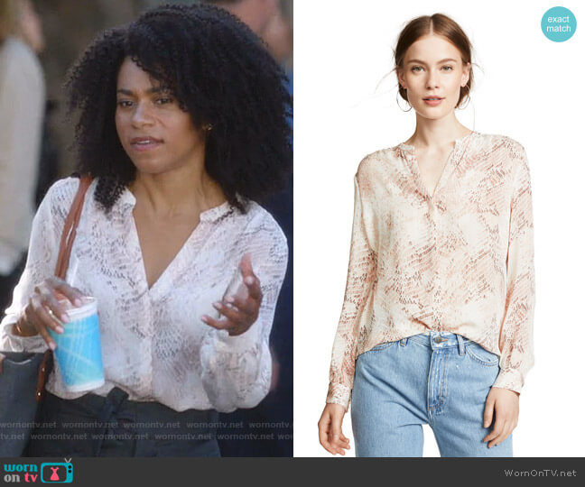 Bardot Blouse by L'Agence worn by Maggie Pierce (Kelly McCreary) on Greys Anatomy