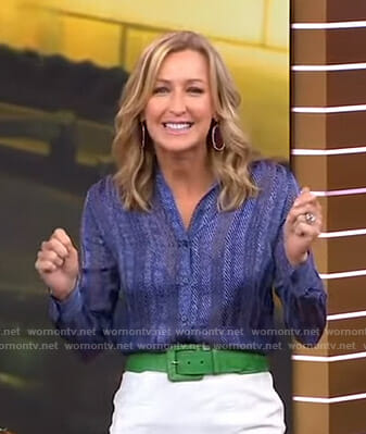 Lara's blue herringbone shirt on Good Morning America