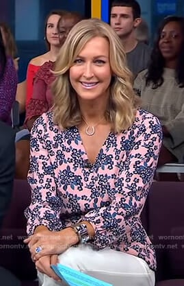 Lara's pink floral wrap top on Good Morning America