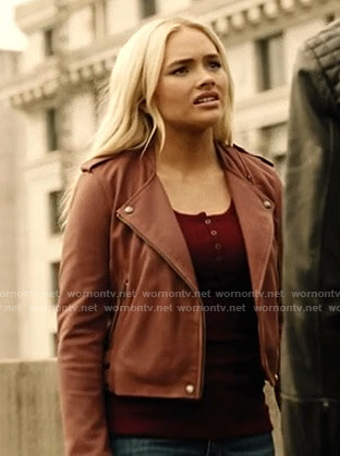 Lauren's red moto jacket on The Gifted