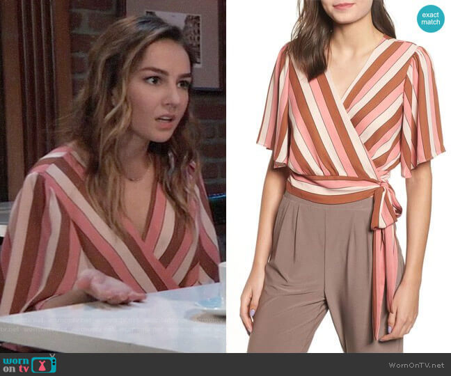 Leith Stripe Wrap Blouse worn by Lexi Ainsworth on General Hospital
