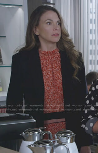Liza's orange floral dress on Younger