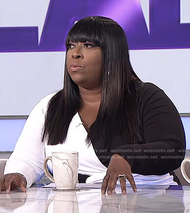 Loni's black and white twist front top on The Real