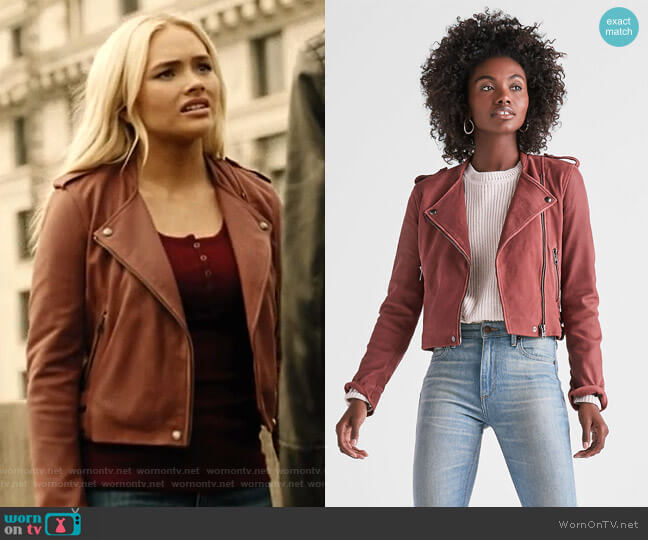 Washed Leather Moto Jacket by Lucky Brand worn by Natalie Alyn Lind on The Gifted