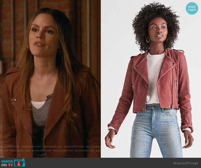 Washed Leather Moto Jacket by Lucky Brand worn by Rachel Bilson on Take Two