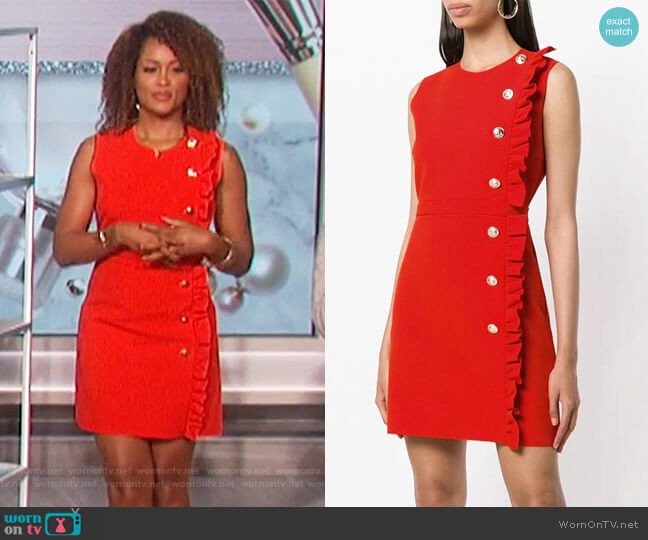 Ruffled Sleeveless Dress by MSGM worn by Eve on The Talk