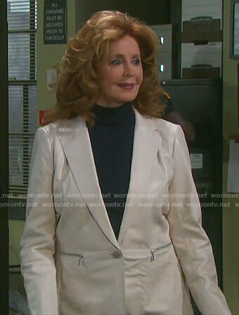 Maggie's white leather jacket with zip pockets on Days of our Lives