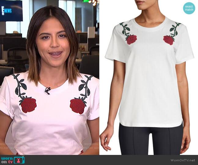 Rose Embroidery Tee by Maje worn by Erin Lim  on E! News