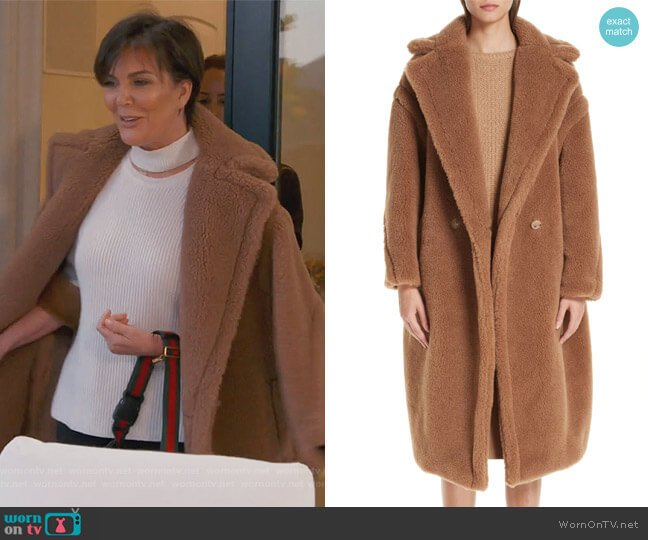 Teddy Bear Icon Faux Fur Coat by Max Mara worn by Kris Jenner  on Keeping Up with the Kardashians