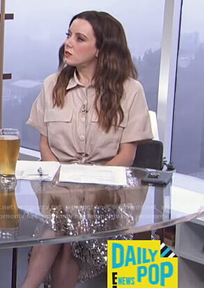 Melanie's beige short sleeve shirt and sequin skirt on E! News Daily Pop