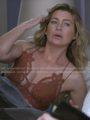 Meredith's orange strappy lace bra on Grey's Anatomy
