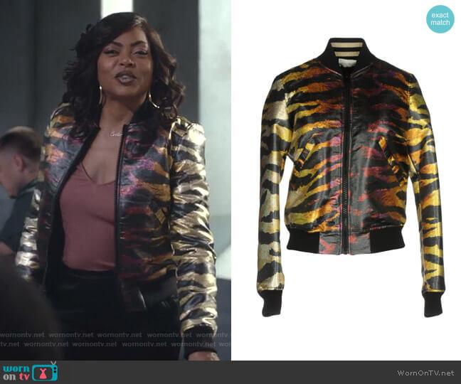 Metallic Reversible Bomber Jacket by Faith Connexion worn by Cookie Lyon (Taraji P. Henson) on Empire
