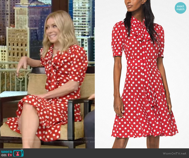 Silk Tie-Neck Polka Dot Dress by Michael Kors Collection worn by Kelly Ripa (Kelly Ripa) on Live with Kelly & Ryan