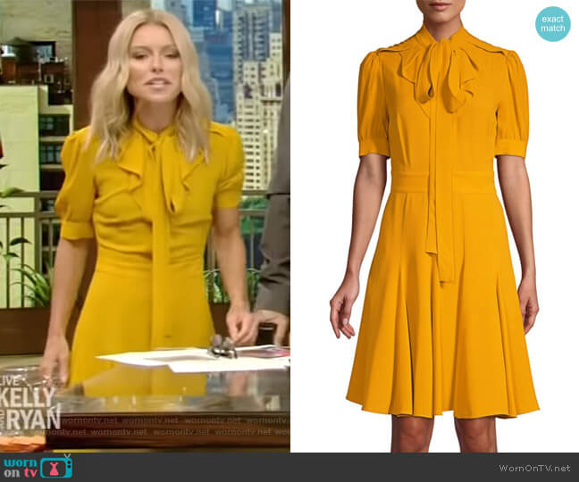 Silk Tie-Neck A-Line Dress by Michael Kors worn by Kelly Ripa on Live with Kelly & Ryan