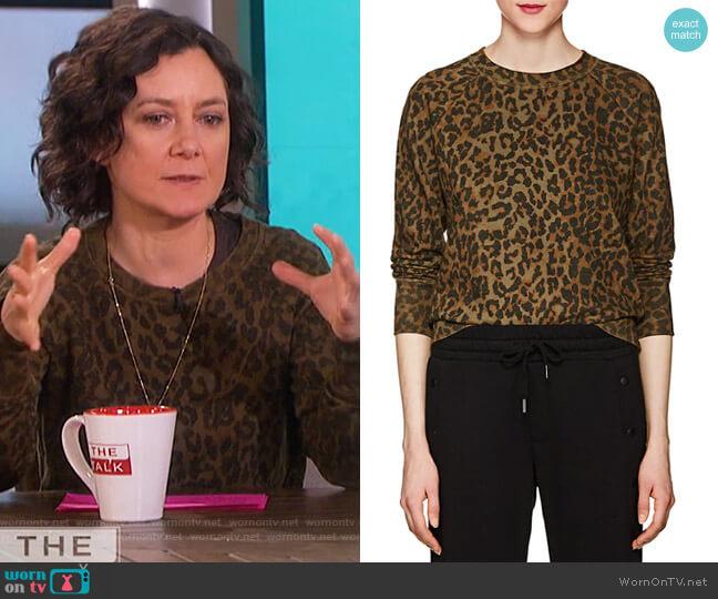 Saguro Leopard-Print Cotton Sweatshirt by NSF worn by Sara Gilbert on The Talk
