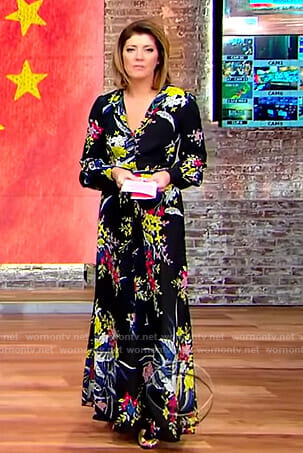 Norah's black floral maxi dress on CBS This Morning