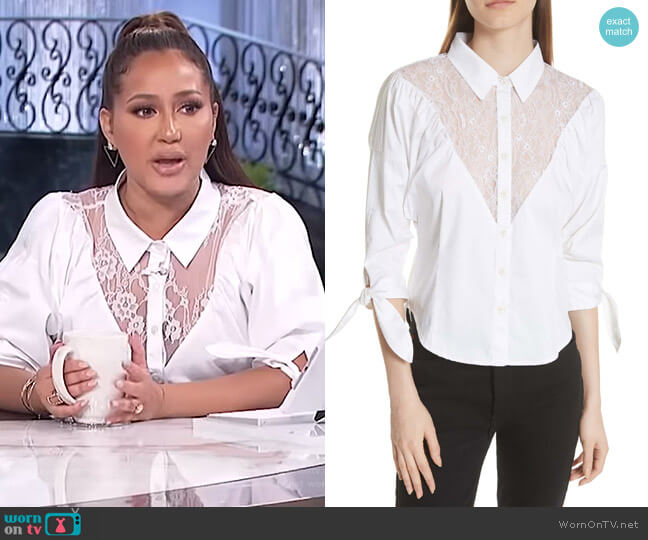 Lace Yoke Shirt by Opening Ceremony worn by Adrienne Houghton (Adrienne Houghton) on The Real
