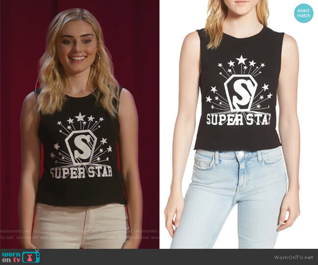 Superstar Shrunken Muscle Tee by Pam & Gela worn by Taylor Otto (Meg Donnelly) on American Housewife