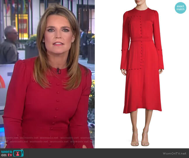 Silk Long-Sleeve A-Line Midi Dress by Prabal Gurung worn by Savannah Guthrie on Today
