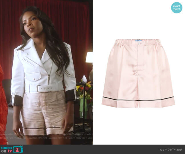 Silk-Satin Shorts by Prada worn by Ryan Destiny on Star