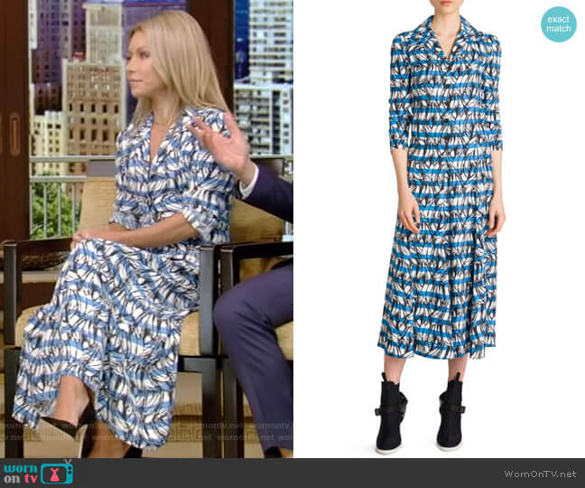 Striped Banana Midi Dress by Prada worn by Kelly Ripa  on Live with Kelly & Ryan