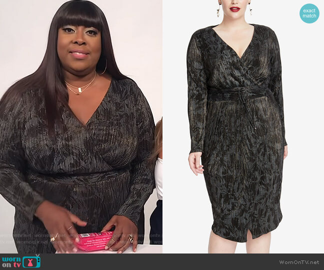Pleated Faux-Wrap Dress by Rachel Rachel Roy worn by Loni Love  on The Real