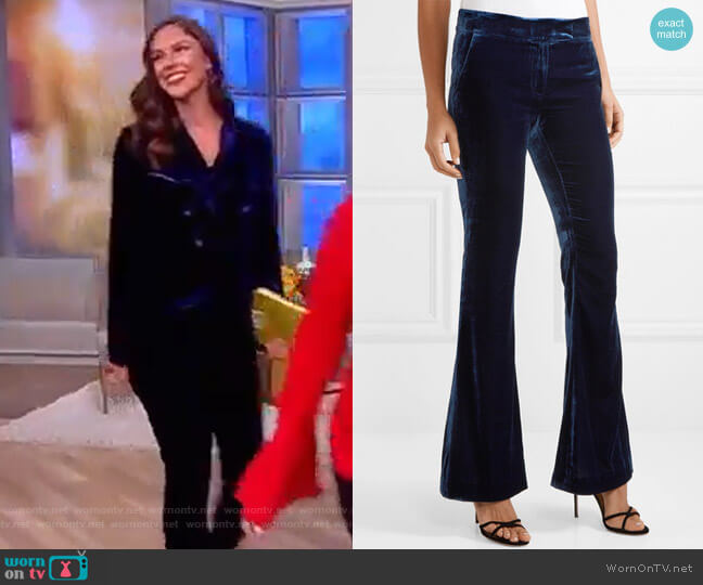 Hall velvet flared pants by Rachel Zoe worn by Abby Huntsman on The View