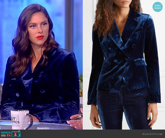 Hannah double-breasted velvet blazer by Rachel Zoe worn by Abby Huntsman on The View