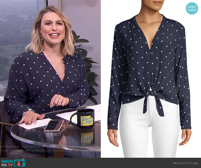 Sloane Tie-Front Blouse by Rails worn by Carissa Loethen Culiner  on E! News