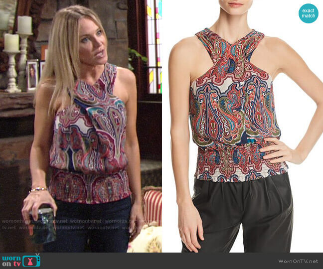 Ramy Brook Lorenza Top worn by Sharon Collins (Sharon Case) on The Young & the Restless