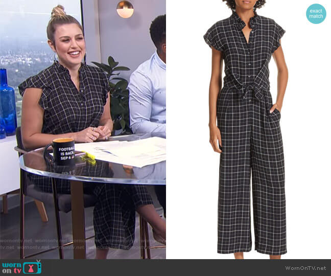 Plaid Silk Jumpsuit by Rebecca Taylor worn by Carissa Loethen Culiner on E! News